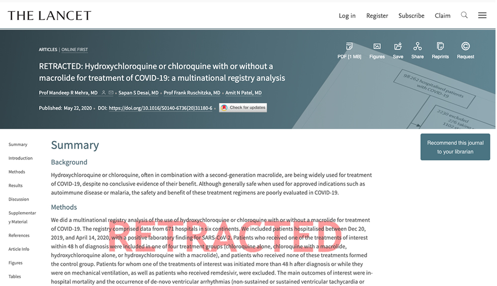Lancet hydroxychloroquine study retracted